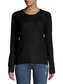 Ellen Tracy Classic Perforated Sweater BLACK