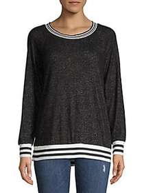 Design Lab Textured Stripe Sweater BLACK