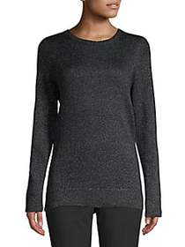 Lord & Taylor Metallic Crewneck Sweater CHARCOAL