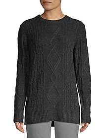 Lord & Taylor Classic Cable-Knit Sweater CHARCOAL