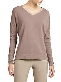 Donna Karan Lurex Trim Dropped Shoulder Pullover F