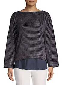 JONES NEW YORK Striped Bell-Sleeve Top INK