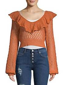 Free People Macaroon Ruffled Sweater BURNT ORANGE