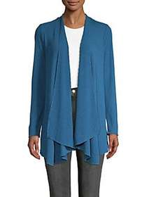 Context Ribbed Draping Cardigan BLUE GEM