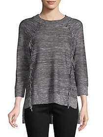 Lord & Taylor Fringe Raglan Sweater BLACK