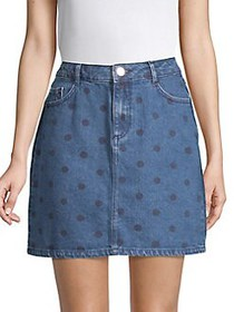 Dorothy Perkins Polka Dot Denim Mini Skirt BLUE