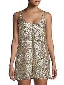 French Connection Sequin Sleeveless Romper GOLD
