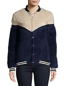Design Lab Marini Colorblock Faux Fur Jacket BLUE