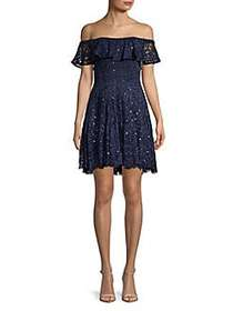 Betsy & Adam Off-The-Shoulder Sequined Lace A-Line