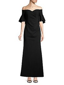 Calvin Klein Off-the-Shoulder Evening Gown BLACK
