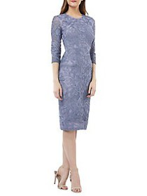 JS Collections South Forest Sheer Sleeve Sheath Dr