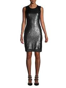 Calvin Klein Embellished Sheath Dress BLACK