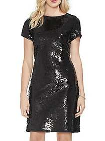 Vince Camuto Gilded Rose Sequin T-Shirt Dress RICH