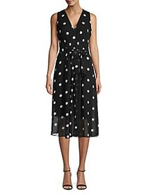 Anne Klein Polka Dot Bow Dress BLACK
