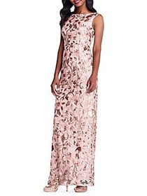 Adrianna Papell Sleeveless Sequin Gown ROSE GOLD