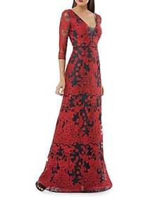 JS Collections Embroidered Column Gown RED