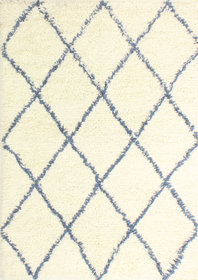 Lavedan Wool Hand-Knotted Ivory/Blue Area Rug