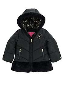 London Fog Little Girl's Faux Fur-Trimmed Quilted