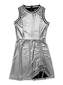 Bebe Girl's Metalic Ruched Dress SILVER