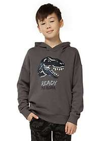 Dex Boy's Dino Graphic Hoodie DARK GREY