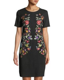 Neiman Marcus Embroidered Scoop-Neck Shift Dress