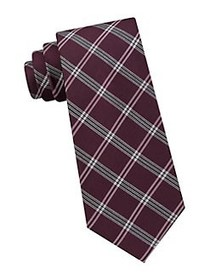 Tommy Hilfiger Plaid Silk Tie BURGUNDY