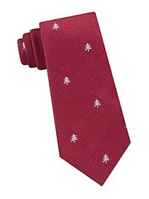 Tommy Hilfiger Glen Plaid Tree Silk Tie RED