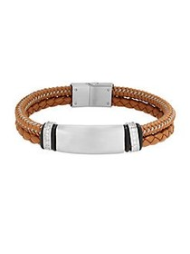 Lord & Taylor Stainless Steel, Leather Cord Braide