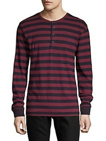 Lucky Brand Striped Long-Sleeve Henley RED