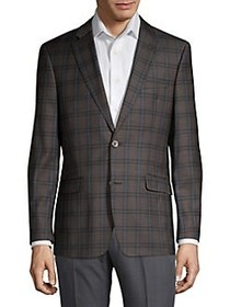Tommy Hilfiger Plaid Button Sportcoat BROWN