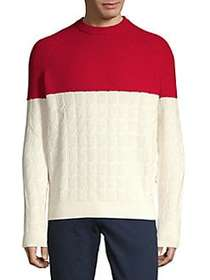 BOSS Colorblock Crewneck Sweater RED IVORY