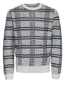 Only and Sons Plaid Jacquard Crewneck Sweater DARK