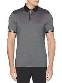 Perry Ellis Ribbed Striped Collar Short-Sleeve Pol