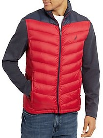 Nautica Classic Fit Quilted Hybrid Jacket TRUE NAV