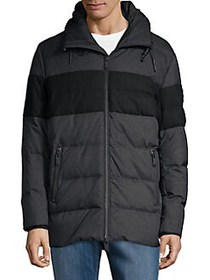 Karl Lagerfeld Quilted Hooded Jacket CHARCOAL