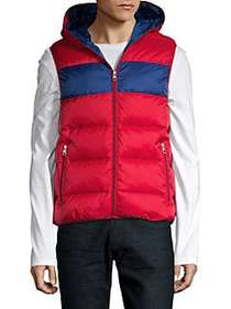 Michael Kors Striped Puffer Vest WINTER RED