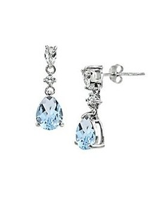 Lord & Taylor Sterling Silver & Blue Topaz Drop Ea