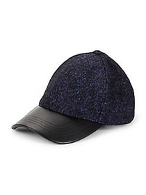 Steve Madden Faux-Leather Tweed Baseball Cap NAVY