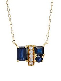 Lord & Taylor Blue Sapphire, White Topaz and 14K Y