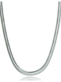 Lord & Taylor Chevron Sterling Silver Chain Neckla