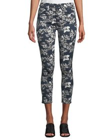 Jen7 by 7 for All Mankind Orchid-Print Cropped Ski