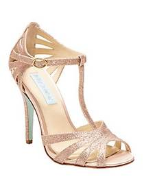 Betsey Johnson Tee Fabric T-Strap Pumps CHAMPAGNE
