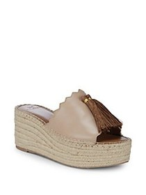 H Halston Melissa Leather Espadrille Slides LIGHT