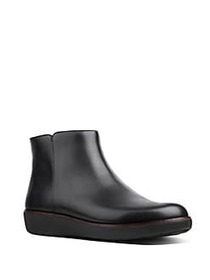 FitFlop Ziggy Zip Leather Ankle Boots BLACK