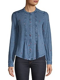 Lucky Brand Embroidered Button Front Chambray Shir