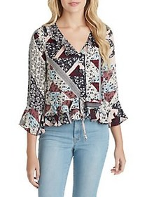 Jessica Simpson Bronwyn Button Up Blouse RED MULTI