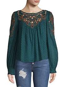 Free People Everything I Know Peasant Blouse BLUE