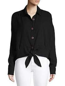Free People Classic Cotton Button-Down Shirt BLACK