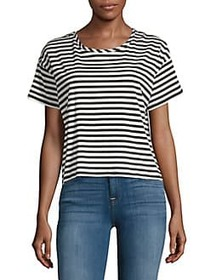 French Connection Tim Tim Striped Cropped Tee BLAC