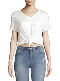 LA LA Anthony Relaxed Tie-Front Cropped Tee BLANC